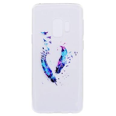 Недорогие Чехлы и кейсы для Galaxy S6-Кейс для Назначение SSamsung Galaxy S9 / S9 Plus / S8 Plus Прозрачный / С узором Кейс на заднюю панель Перья Мягкий ТПУ