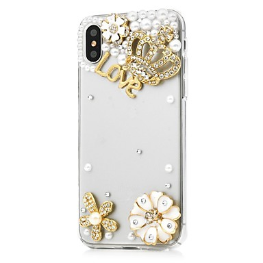 iPhone Integrale decorativo iPhone X Fantasia Fiore Con disegno Apple Plus sintetica diamantini Per per Custodia pelle 06509060 Resistente 8 EFqP4EA
