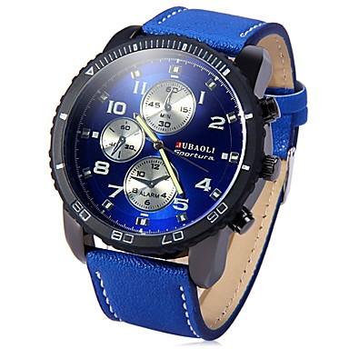 זול שעוני גברים-JUBAOLI בגדי ריקוד גברים שעון יד קווארץ גדול מתכת אל חלד שחור / כחול / אדום מגניב צג גדול אנלוגי שחור כחול כהה אדום