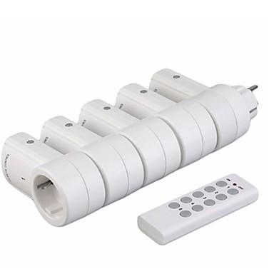 billige Smart hjem-rf433 5 trådløse strømbryterkontakter1 fjernkontrollen hjemme strømnettet eu plugg av høy kvalitet trådløs fjernkontroll strømbryterplugg
