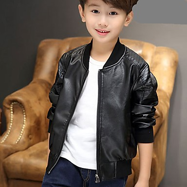 cheap Boys' Jackets & Coats-Toddler Boys' Casual Daily Solid Colored Long Sleeve Regular PU Suit & Blazer Black