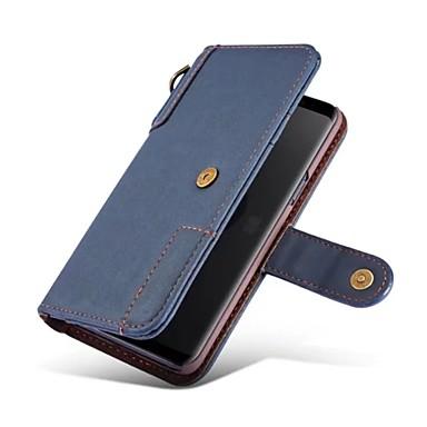 ケース 用途 Samsung Galaxy S9 Plus / S9 ウォレット / カードホルダー / スタンド付き フルボディーケース 純色 ハード 本革 のために S9 / S9 Plus / S8 Plus