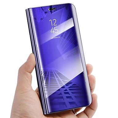 Недорогие Чехлы и кейсы для Galaxy S6 Edge-Кейс для Назначение SSamsung Galaxy S9 / S9 Plus / S8 Plus со стендом / Зеркальная поверхность / Флип Чехол Однотонный Твердый Кожа PU