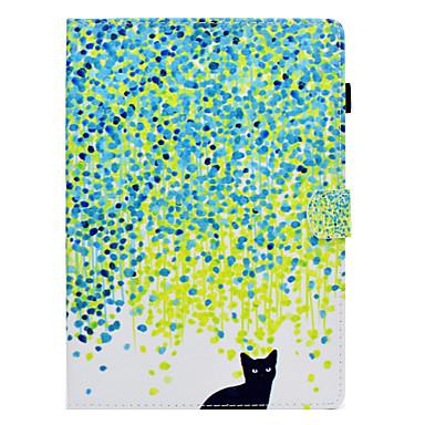 voordelige Samsung Tab-serie hoesjes / covers-hoesje Voor Samsung Galaxy Tab S2 9.7 / Tab E 9.6 / Tab A 10.1 (2016) Kaarthouder / Schokbestendig / met standaard Volledig hoesje Kat Hard PU-nahka