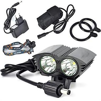 ieftine Frontale-Frontale 6000 lm LED LED emițători 1 Mod Zbor Profesional Rezistent la uzură Ușor Camping / Cățărare / Speologie Ciclism Vânătoare Negru Rosu Albastru