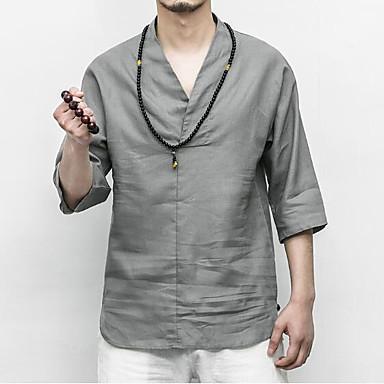 dd86f4ab890ed baratos Camisetas  amp  Regatas Masculinas-Homens Camiseta Temática  Asiática Sólido Linho Decote V Branco