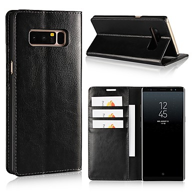 voordelige Galaxy Note-serie hoesjes / covers-hoesje Voor Samsung Galaxy Note 8 / Note 5 / Note 4 Portemonnee / Kaarthouder / Schokbestendig Volledig hoesje Effen Hard aitoa nahkaa