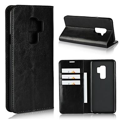 levne Galaxy S6 Pouzdra a obaly-Carcasă Pro Samsung Galaxy S9 / S9 Plus / S8 Plus Peněženka / Pouzdro na karty / Nárazuvzdorné Celý kryt Jednobarevné Pevné Pravá kůže