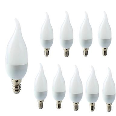 10pcs 2W 200lm E14 LED 캔들 조명 C35L 10 LED 비즈 SMD 2835 장식 따뜻한 화이트 차가운 화이트 220-240V