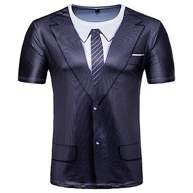 9d07b366a02e Χαμηλού Κόστους Ανδρικά μπλουζάκια και φανελάκια-Ανδρικά T-shirt Βασικό  Γεωμετρικό Στρογγυλή Λαιμόκοψη Στάμπα