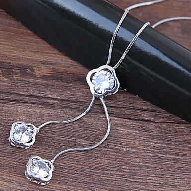 economico Collana-Per donna Collane con ciondolo collana lunga Clover Europeo Di tendenza Lega Argento 70 cm Collana Gioielli Per Feste