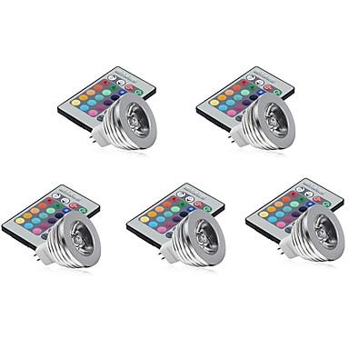 5pcs 3 W 250-300 lm GU5.3(MR16) LED Φώτα Σκηνής MR16 1 leds LED Υψηλης Ισχύος Με ροοστάτη Διακοσμητικό Τηλεχειριζόμενο RGB DC 12V