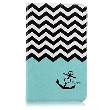 [$11.59] Case For Samsung Galaxy Tab E 8.0 Card Holder Wallet with Stand Pattern Auto Sleep / Wake Up Full Body Cases Lines / Waves Hard PU Leather