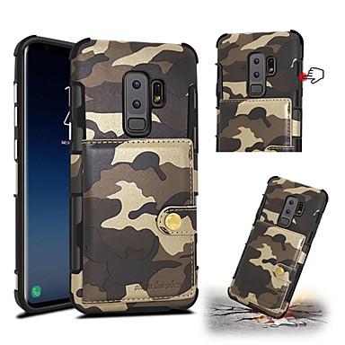 voordelige Galaxy S-serie hoesjes / covers-hoesje Voor Samsung Galaxy S9 / S9 Plus Kaarthouder / Schokbestendig Achterkant Camouflage Kleur Hard PU-nahka
