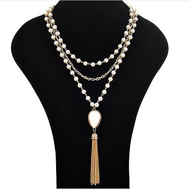 15c15c38af21 Mujer Perla Borlas Lazo Collares Declaración collar largo Collar con perlas  Perla damas Borla Moda Blanco