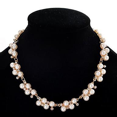 voordelige Ketting-Dames Parel Verklaring Kettingen Pearl Strands Dames leuke Style Parel Gesimuleerde diamant Legering Wit 40+5 cm Kettingen Sieraden Voor Feest