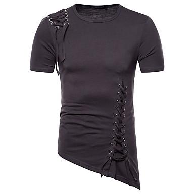 economico Abbigliamento uomo-T-shirt Per uomo Stoffe orientali Tinta unita Nero L / Manica corta