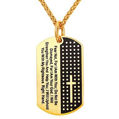 economico Collana-Per uomo Per donna Collane con ciondolo geometrico Di tendenza fede Acciaio inossidabile Oro Argento 55 cm Collana Gioielli Per Quotidiano