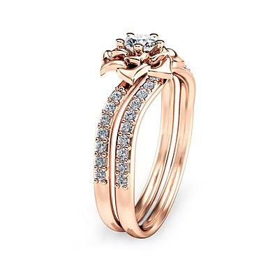 2e9bfd5639ae Zirconia Cúbica Anillo de compromiso envolver el anillo Cobre Rosa Oro  Plateado Flor damas Vintage Vacaciones