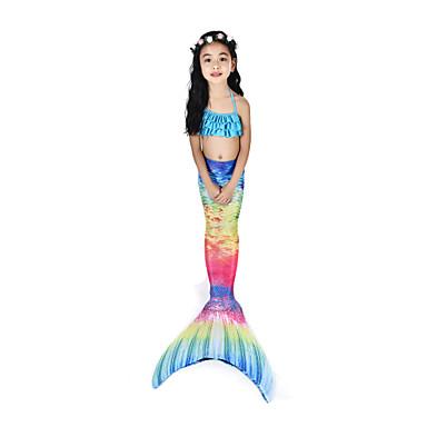 The Little Mermaid Aqua Princess Costume de Baie Bikini Costume Pentru copii Pentru femei Slip rochie sirenă și trompetă Bikini Crăciun Halloween Carnaval Festival / Sărbătoare Elastan Tactel