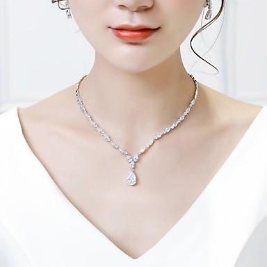Pentru femei Zirconiu Cubic Seturi de bijuterii Cercei Picătură Coliere cu Pandativ Dulce Modă cercei Bijuterii Alb Pentru Nuntă Zi de Naștere