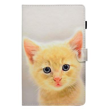 voordelige Samsung Tab-serie hoesjes / covers-hoesje Voor Samsung Galaxy Tab E 9.6 / Tab E 8.0 / Tab A 9.7 Kaarthouder / met standaard / Flip Volledig hoesje Kat Hard PU-nahka