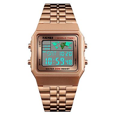 Недорогие Часы на металлическом ремешке-SKMEI Муж. электронные часы Японский Цифровой Нержавеющая сталь Черный / Серебристый металл / Золотистый 30 m Защита от влаги Будильник Календарь Цифровой На каждый день Мода -  / Один год