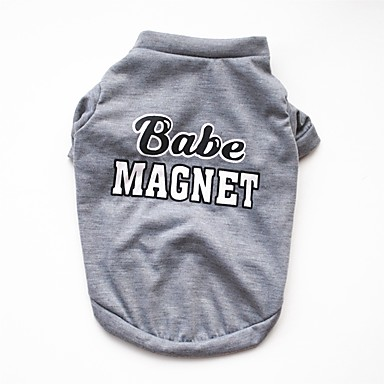 cheap Dog Clothing & Accessories-Dogs Cats Pets Vest Dog Clothes Solid Colored Simple Quotes & Sayings Gray Cotton Costume For Corgi Beagle Shiba Inu Spring &  Fall Female Casual / Daily Keep Warm