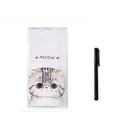voordelige Hoesjes / covers voor Sony-hoesje Voor Sony Xperia XZ1 Compact / Sony Xperia XZ1 / Xperia XA2 Ultra Doorzichtig Achterkant Kat / dier Zacht TPU