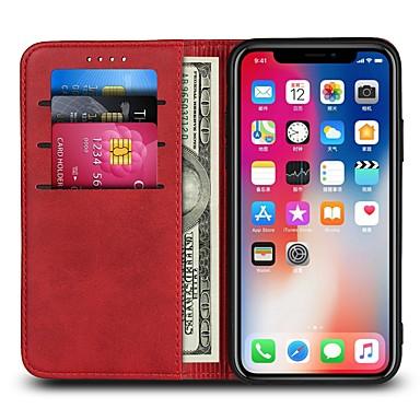 voordelige iPhone 7 hoesjes-hoesje Voor Apple iPhone X / iPhone 8 Plus / iPhone 8 Portemonnee / Kaarthouder / Flip Volledig hoesje Effen Hard PU-nahka