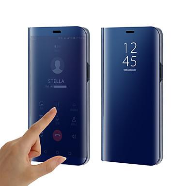 Недорогие Чехлы и кейсы для Galaxy S6-Кейс для Назначение SSamsung Galaxy S9 / S9 Plus / S8 Plus Покрытие / Зеркальная поверхность / Флип Чехол Однотонный Твердый Силикон