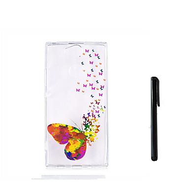 voordelige Hoesjes / covers voor Sony-hoesje Voor Sony Xperia XZ1 Compact / Sony Xperia XZ1 / Xperia XA2 Ultra Doorzichtig Achterkant Vlinder Zacht TPU