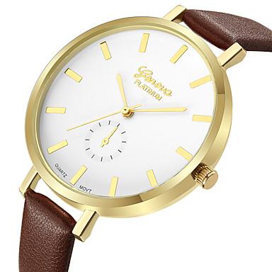 Geneva Dámské Hodinky k šatům Náramkové hodinky Křemenný Kůže Hnědá Nový  design Hodinky na běžné nošení 3fba870e116