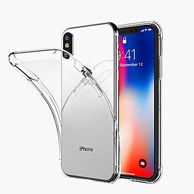 غطاء من أجل Apple iPhone X / iPhone 8 Plus / iPhone 8 شفاف غطاء خلفي لون سادة ناعم TPU