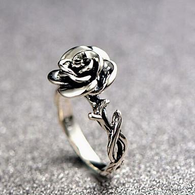 نسائي خاتم 1PC فضي سبيكة دائري سيدات عتيق رومانسي مناسب للبس اليومي الحانة Bar مجوهرات أشكال النحت الحرفيين وردة