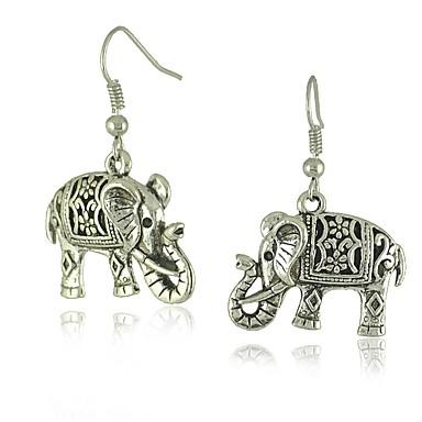 نسائي أقراط قطرة 3D فيل سيدات أنيق كلاسيكي الأقراط مجوهرات فضي من أجل مناسب للبس اليومي 1 زوج