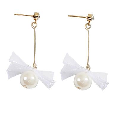نسائي حلقات طويل عقدة بسيط الكورية موضة لؤلؤ تقليدي دانتيل الأقراط مجوهرات أبيض من أجل مناسب للبس اليومي 1 زوج