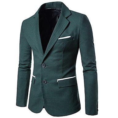 economico Abbigliamento uomo-Per uomo Per uscire / Ufficio Standard Giacca, Monocolore A V Manica lunga Poliestere Verde / Grigio L / XL / XXL