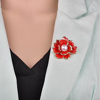 نسائي دبابيس 3D وردة سيدات عتيق أوروبي لؤلؤ تقليدي بروش مجوهرات أسود أحمر من أجل حفلة ليلية المكتب & الوظيفة