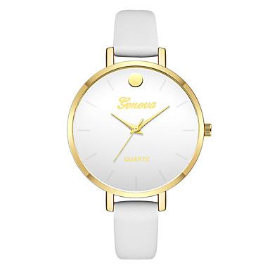 Geneva نسائي ساعة المعصم كوارتز جلد أسود / الأبيض / أخضر تصميم جديد ساعة كاجوال كوول مماثل سيدات كاجوال موضة - أسود أخضر زهري سنة واحدة عمر البطارية
