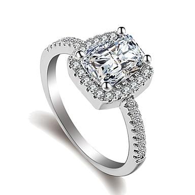 billige Damesmykker-Dame Ring / Belle Ring / Micro Pave Ring 1pc Sølv Messing / Platin Belagt / Fuskediamant damer / Klassisk / Romantikk Bryllup / Gave / Maskerade Kostyme smykker / Solitaire
