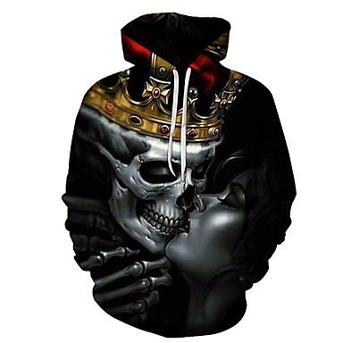 رجالي أساسي / مبالغ فيه قياس كبير فضفاض بنطلون - 3D / جماجم طباعة أسود / مع قبعة / الرياضة / كم طويل / الخريف / الشتاء