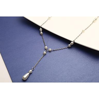 Kadın's İnci Y kolye - İnci, İmitasyon İnci Basit Beyaz 40+5 cm Kolyeler 1pc Uyumluluk Düğün, Parti, Günlük