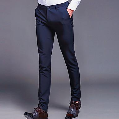 22f20b86e رجالي أساسي مناسب للبس اليومي بدلة بنطلون - لون سادة أزرق أسود رمادي 34 36  35