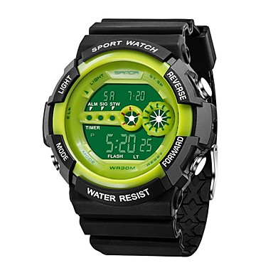 levne Pánské-SANDA Pánské Sportovní hodinky Digitální hodinky japonština Digitální Silikon Černá 30 m Voděodolné Kalendář Pohodě slovo / fráze Digitální Luxus Módní - Červená Zelená Modrá / Stopky / Svítící