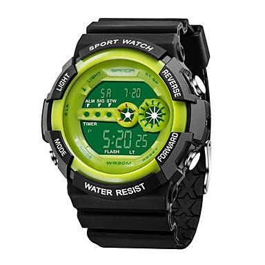 cheap Men's Watches-SANDA Men's Sport Watch Digital Watch Japanese Digital Silicone Black 30 m Water Resistant / Waterproof Calendar / date / day Cool Word / Phrase Digital Luxury Fashion - Red Green Blue / Stopwatch