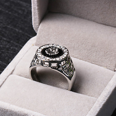 813d757580 Men's Synthetic Diamond Engraved Halo Statement Ring Signet Ring Cubic  Zirconia Alloy Lion King Animal Personalized