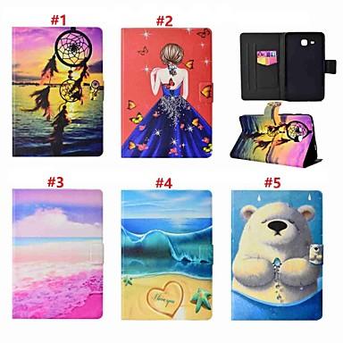 voordelige Samsung Tab-serie hoesjes / covers-hoesje Voor Samsung Galaxy Tab A 7.0 Kaarthouder / met standaard Volledig hoesje Sexy dame / dier / Dromenvanger Hard PU-nahka
