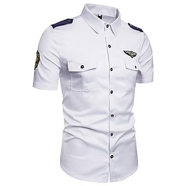 baratos Camisas Masculinas-Homens Camisa Social Moda de Rua Bordado, Sólido Algodão Colarinho Clássico Branco XXXL / Manga Curta