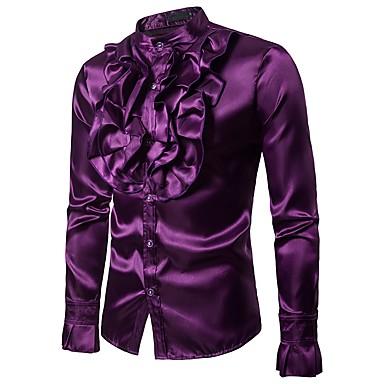 billige Herrers Mode Beklædning-Opprett krage Skjorte Herre - Ensfarget, Drapering Vintage / Grunnleggende Fest / Klubb Gul US38 / Langermet